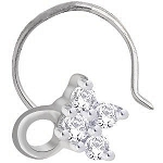 Solitaire Diamond nose Ring 0.10Ct Round Shape Natural Certified Solid White Gold